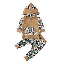 Комплекты одежды для новорожденных мальчиков и девочек, топ с капюшоном и принтом с животными, штаны, осенне-зимняя одежда