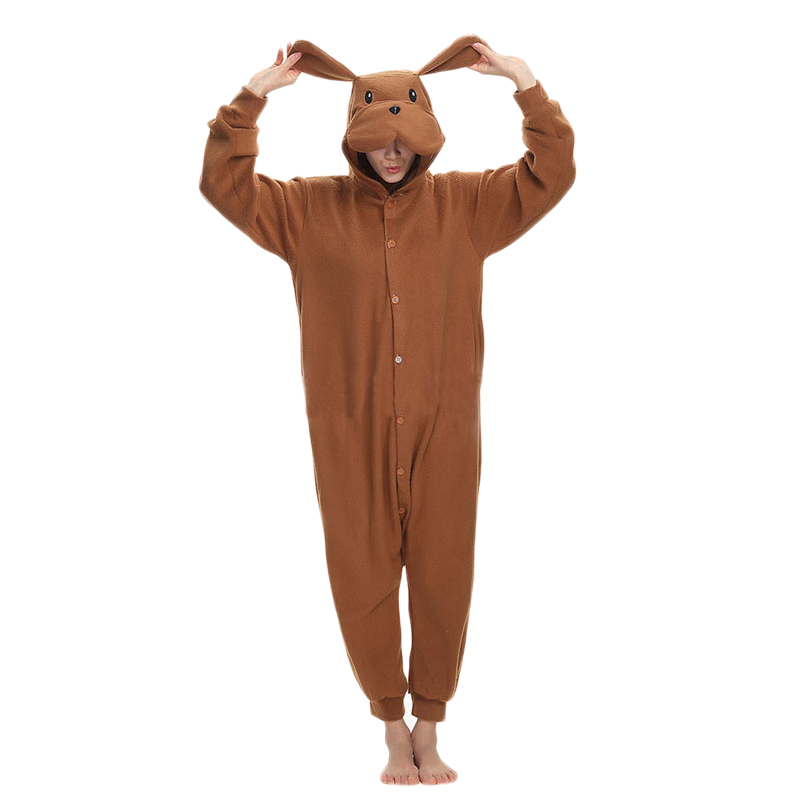 Brown Dog Kigurumis Funny Onesie Animal Jumpsuit Adult Men Women Sleepwear Winter Outfit Cartoon Cute Pajama Loose Warm Overalls
