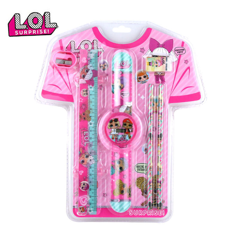 LOL Surprise Doll School Supplies New Creative Portable Children Stationery Set Student Christmas Gifts Wallet Watch Girl Gift 2