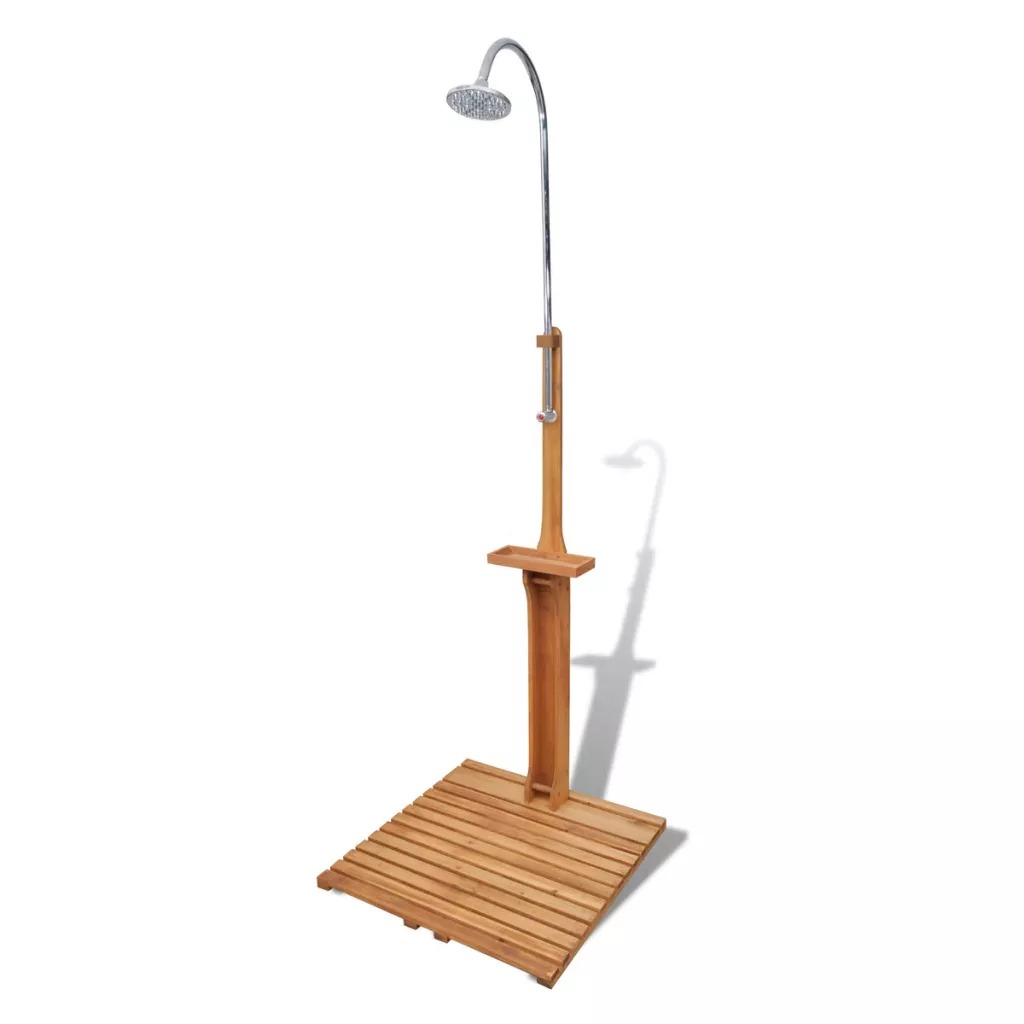 VidaXL Wooden Garden Shower Shower Faucet Shower Set Rain Shower Head Tub Mixer Faucet For Bathroom Hardwood And Fir Wood