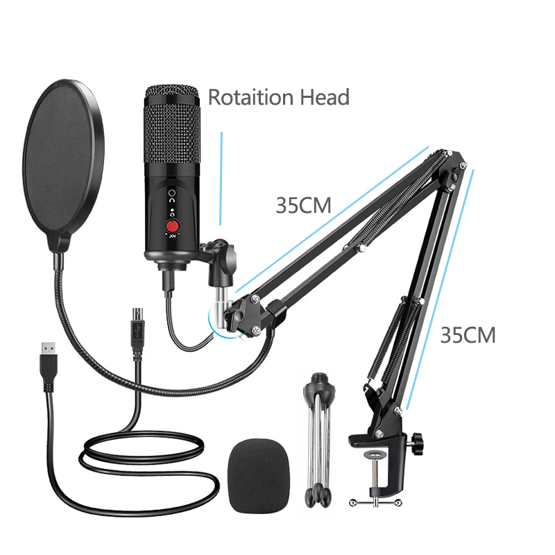 Кондензаторен микрофон със статив USB - Преносимо аудио и видео - Снимка 2