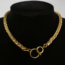 Punk Cuban Chokers Necklace Women Collar Gold Color Stainless Steel Chunky Thick Chain Circle Necklace Hip Hop Men Neck Jewelry