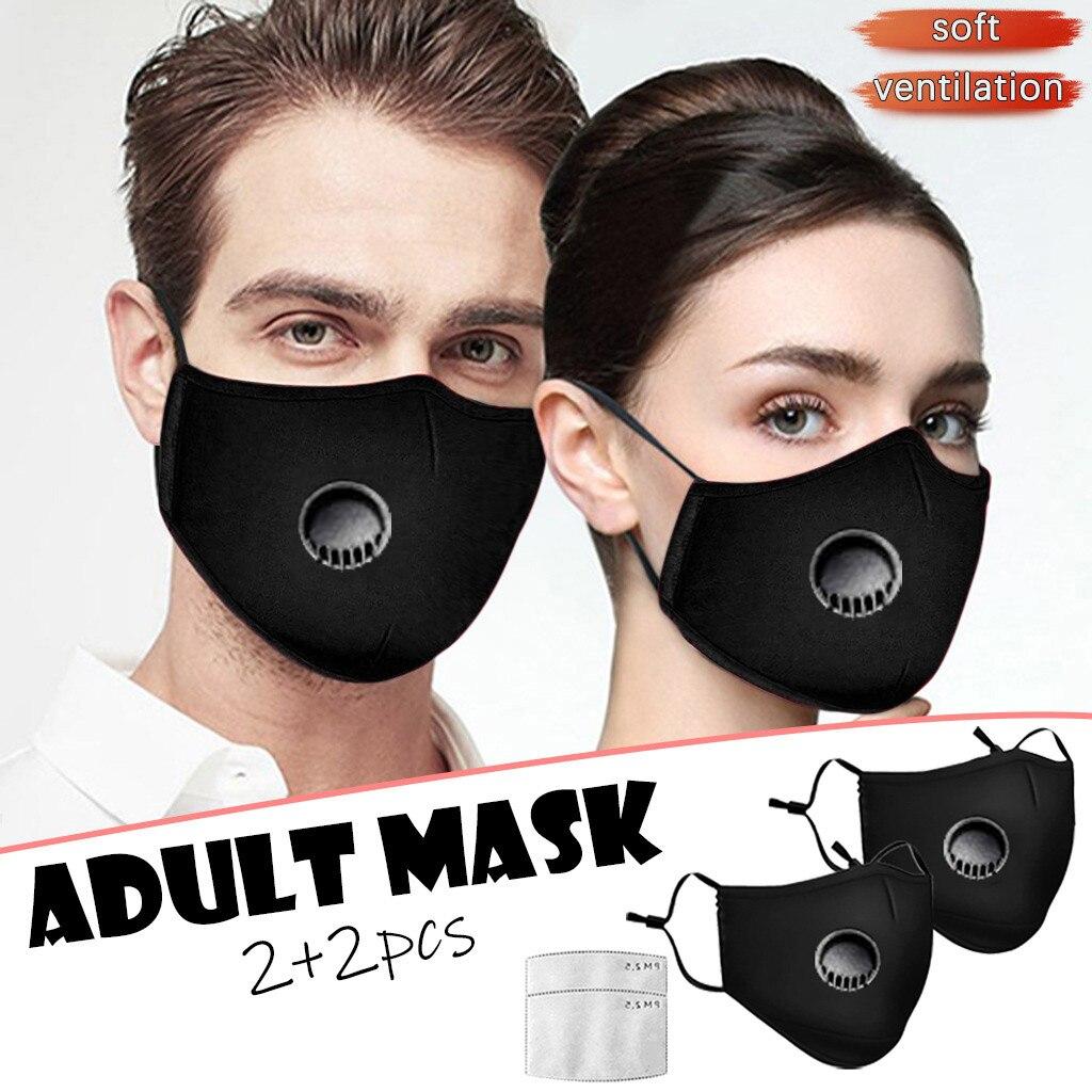 2 шт. черная многоразовая маска с фильтром 2 шт. Тканевая маска для лица с клапаном моющаяся маска для рта взрослые колпачки для рта Мужская и ...