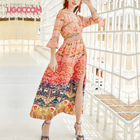UGOCCAM Nature Print Dress Deep V Neck Side Slit Short Sleeve Flare Sleeve Casual Half Sleeve Ladies Korean A line Chiffon Dress