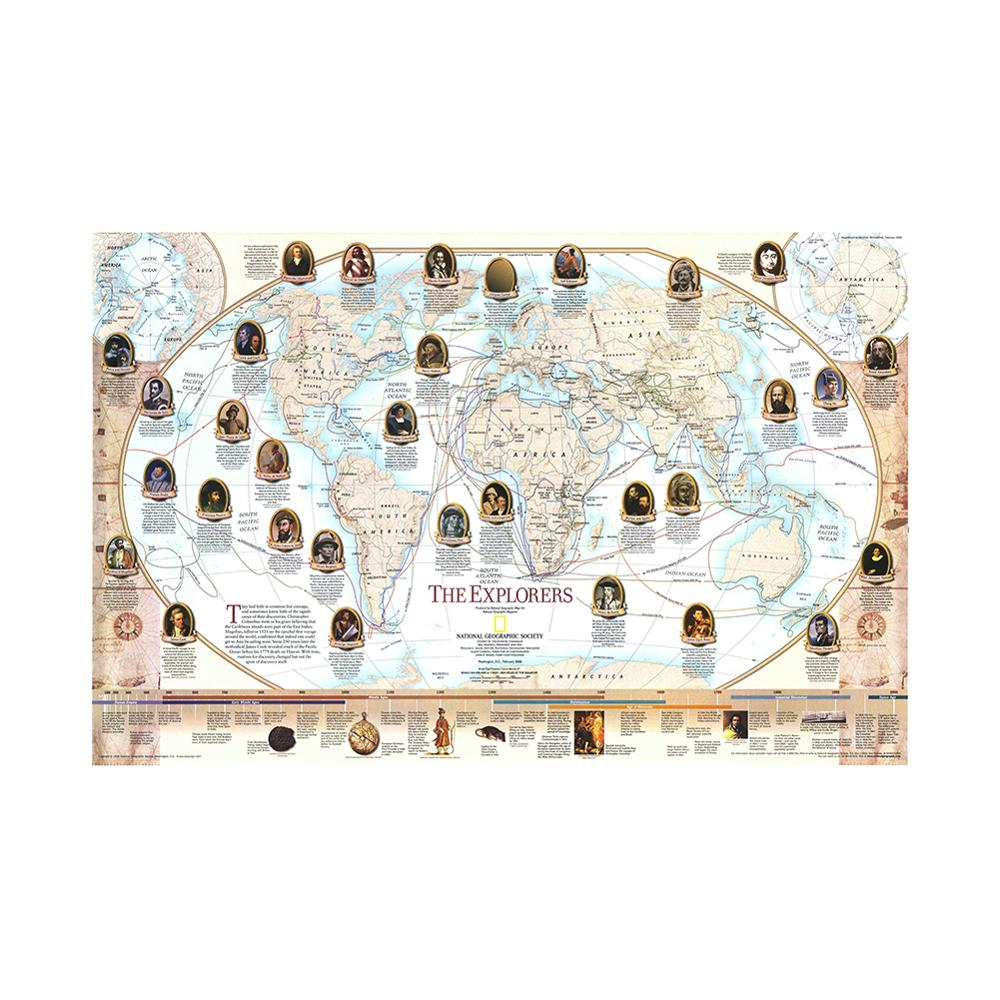 150x100cm World Famous Navigator And Explorer Navigation Map Non-woven World Map By National Geographic Society