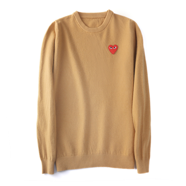 (have eyes)Wool Sweater CoupleLong sleeve Cashmere Pullover Menand Women Spring Autumn O-neck Sweater With Love Knitted Sweater 2
