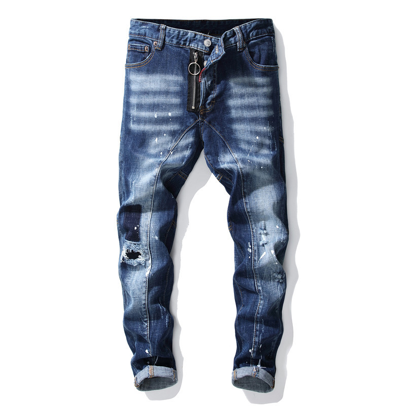 European American Style Nice Slim Blue Punk Skateboard Men Ripped Jeans Hip Hop Streetwear Trendy Holes Straight Denim Trouers
