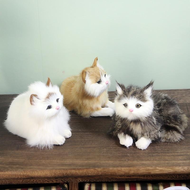 Realistic Cat Plush Toys Lifelike Fur Furry Cat Dolls Sleeping Animals Creative Gift Home Decoration Simulation Kitten Models