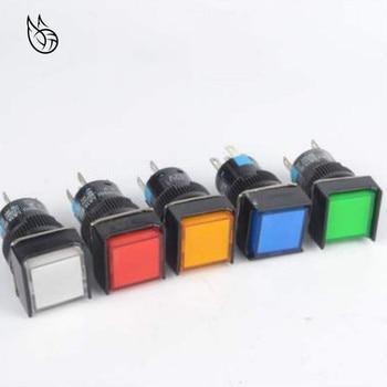цена на BENKPAK 5v 12V 24V 220v 16mm push button switch LED lamp 5pin square button switch 3 years warranty