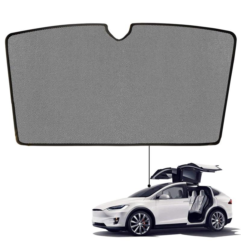 For Tesla Model X Front Windshield Sunshade Shade Foldable Magnet Mesh Side Car Window Heat Isolate Sun Shade