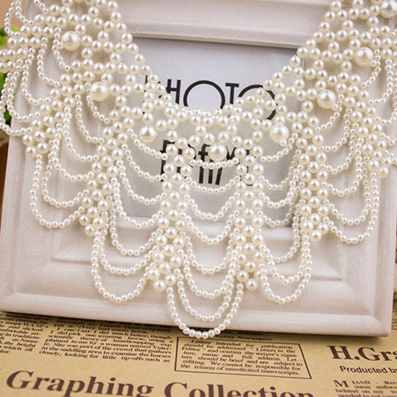 Women Handmade Imitation Pearl Bib Choker Necklace Woven Hollow Out Beaded Chunky Fake Collar Detachable Jewelry Wedding Costume