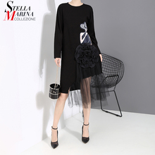 New 2019 Korean Style Women Autumn Black Printed Dress Long Sleeve Mesh Big Flower Stitched Ladies Cute Casual Dress Robe 5461