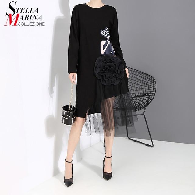 New 2019 Korean Style Women Autumn Black Printed Dress Long Sleeve Mesh Big Flower Stitched Ladies Cute Casual Dress Robe 5461