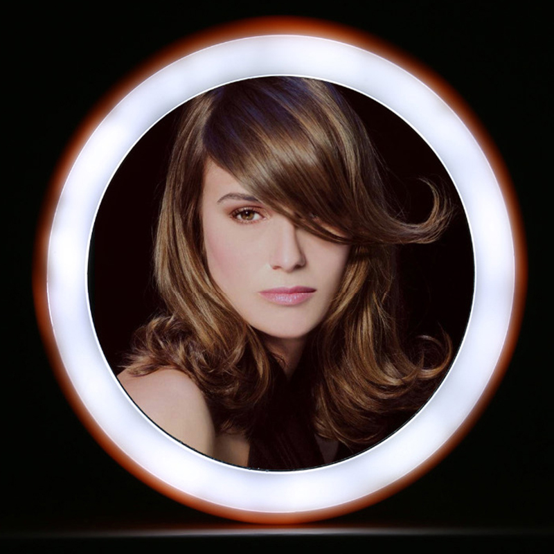 Hot Mirror Rechargeable Mini Portable Round HD Makeup Cosmetic Mirror With 12LED Lights
