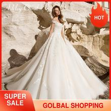 אשלי קרול נסיכת חתונה שמלת 2020 סקסי מתוק שווי שרוול כלה שמלות תחרה עד אופנה ללא משענת אונליין כלה שמלות