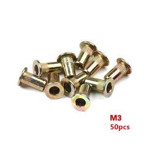 Image 5 - 50PCS Aluminum Alloy/Carbon Steel M3 M4 M6 M8 M10 Rivet Nuts Flat Head Rivet Nuts Set Nuts Insert Riveting