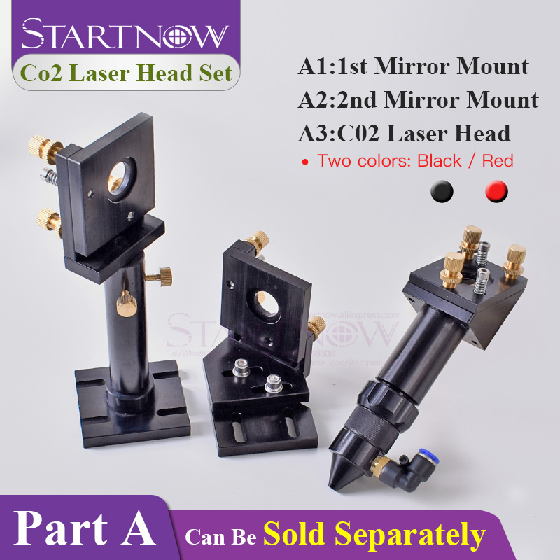 Startnow DIY CO2 Laser Head Set Focusing Lens Laser Mirror Mount Holder Integrative Base For Cutter Machine Metal Hardware Tools