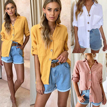 Button Up Casual Blouses Women Long Sleeve Single Breasted Pockets Shirt Tops Casual Streetwear Lady Tee Top 2019 Blusas Mujer