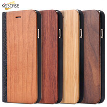 De bambú de madera Natural para iPhone 11 Pro Max X XS X XR 8 7 6 6S Plus Samsung Galaxy S10 S9 S8 S7 borde Flip Funda de cuero(China)