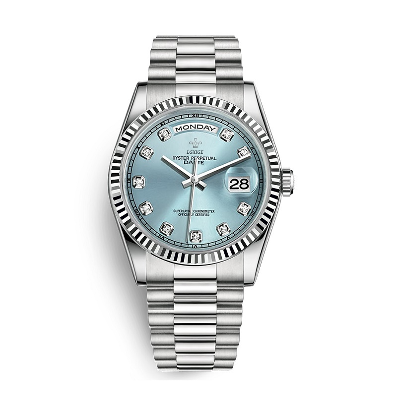 Factory New Mens Watch Blue DAY DATE Rome Number Dial Men Watch Top Brand Luxury Japan Quartz Stainless Steel AAA Watch Men 2020|Quartz Watches|Watches - title=