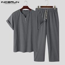 Vintage hommes ensembles coton Streetwear col en V à manches courtes chemises cordon pantalon solide Style chinois décontracté hommes costumes INCERUN 2021