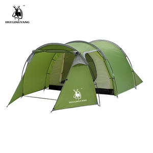 Image 2 - outdoor products 3 4 people double room one hall tunnel tent camping rain Open tent Throw pop up tents Hiking Family Beach large
