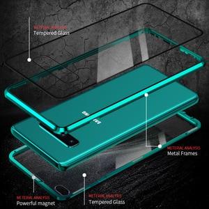 Image 4 - Fall Für Samsung Galaxy S8 S9 S10 Plus S10e Abdeckung Anti Spy 9H Volle Privatsphäre Gehärtetem Glas Screen Protector metall Magnet fall