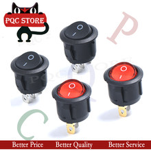 5PCS KCD1-105 3PIN BLACK/RED ROUND Push Button rocker Switch ON/OFF/ON boat power switches 16A/250V 20A/125V()