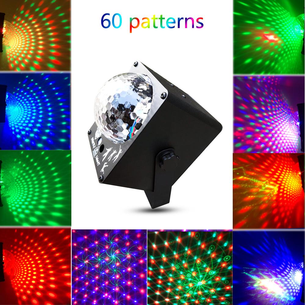 60 Patterns RGB Stage Light Laser Projector Sound Activated Disco Ball Party Lighting Effect for Christmas KTV Wedding