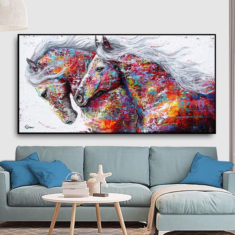 100% Hand Gemalt Abstrakte Pferd Kunst Ölgemälde Auf Leinwand Wand Kunst Rahmenlose Bild Dekoration Für Live Room Home Decor geschenk - 2