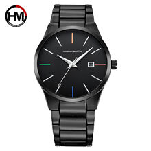 HM Men Watch Luxury Brand Calendar Quartz Business Waterproof Stainless Steel fashion Wrist Watch Man Clock relogio masculino цена и фото