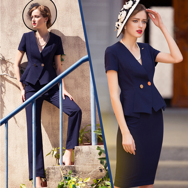 Women S Office Suits Set Professional Female Business Lady Suit Plus Size Navy Blazer Pant  Designer Tailor 2019 Free Ship