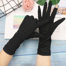 Driving-Gloves Sunscreen Printing Long-Cycling Breathable Women's Cotton Summer Dot Anti-Skid