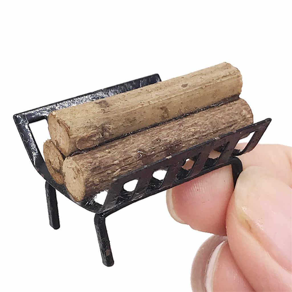 Simulation 1Pc 1/12 Dollhouse Furniture Metal Rack with Firewood for Living Room Fireplace Figurines Ornaments Gadget Accessory