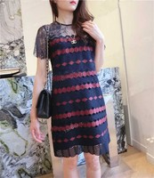 16 Embroidery Sweet Lace Wave Hem Dress 671