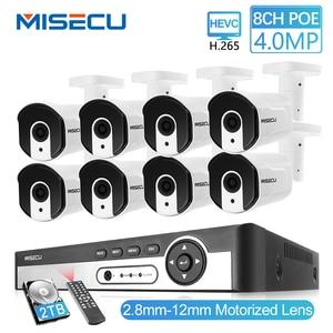 Image 1 - MISECU H.265 8CH 4MP güvenlik kamerası sistemi POE NVR kiti 2.8 12mm Zoom açık su geçirmez 4MP POE IP kamera p2P güvenlik gözetleme