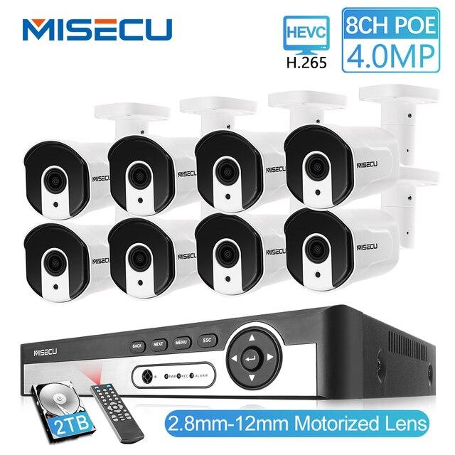 MISECU H.265 8CH 4MP güvenlik kamerası sistemi POE NVR kiti 2.8 12mm Zoom açık su geçirmez 4MP POE IP kamera p2P güvenlik gözetleme