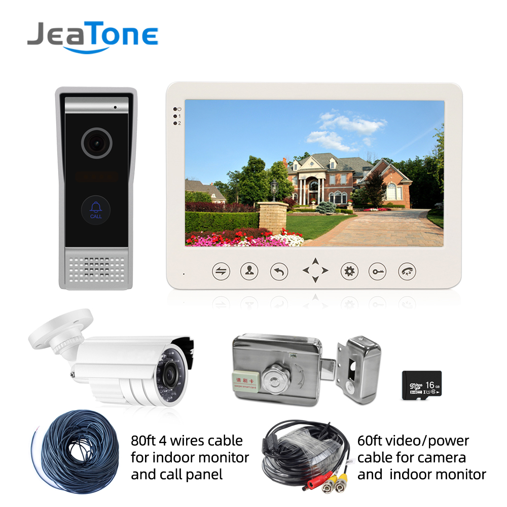 Jeatone Video Intercom 7'' HD Wired Video Doorbell Camera Support IR Night Vision Motion Sensor For Home Security+1200TVL Camera