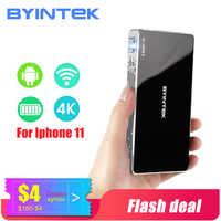 BYINTEK Mini projecteur P10, projecteur portatif intelligent de Pico de poche de Wifi, projecteur Mobile de lAsEr de DLP de LED pour le cinéma 3D du Smartphone 4K