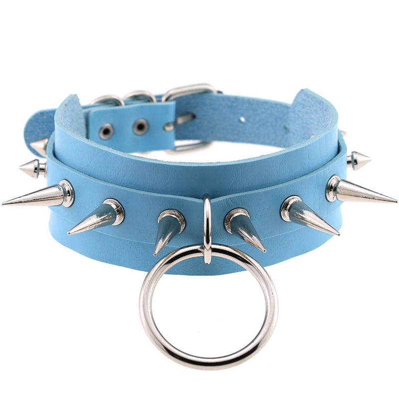 1Pc Rivets CBB Material Chokers Punk Goth Handmade Choker Necklace Spike Rivet Necklace Rock Gothic Chocker Drop Shipping