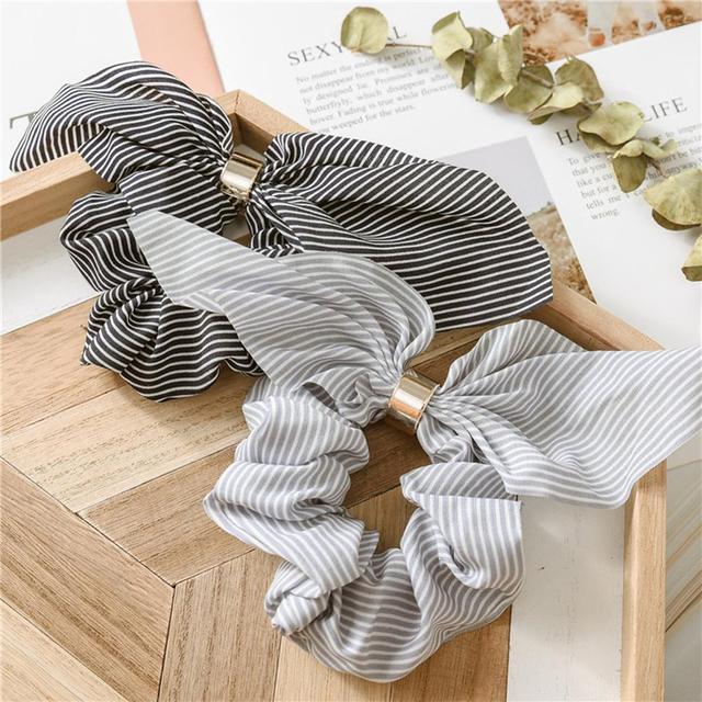 Korea Cute Rabbit Ear Striped Metal Buckle Hair Scrunchies Elastic Hair Bands Ties Rope Bands Ponytail Bands Hair Accessories 3