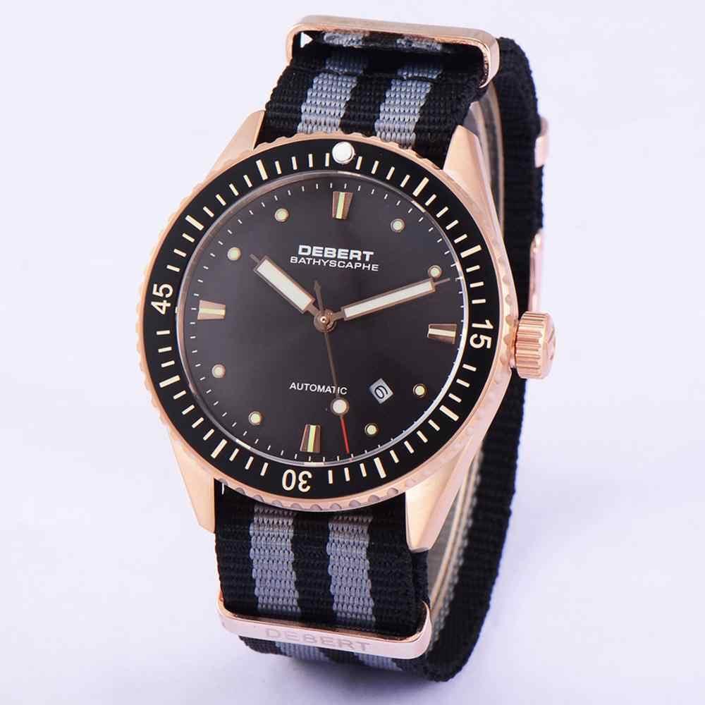 Debert 43mm różowe złoto męska automatyczny zegarek mechaniczny mewa kalendarz noc światła szafirowe szkło mozaika ceramiczna zegarek 316L