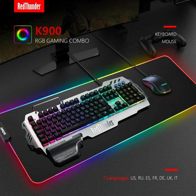 RedThunder K900 RGB Gaming Keyboard and Mouse, Sim-Mechanical Metal Cover, 6400DPI 7 Programmable Button for PC  RU ES FR 2