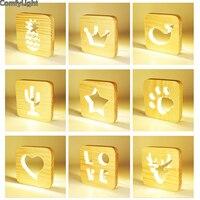 led night light sleep kids bedroom usb plug switch wood modern night lamps love star shape study reading home Decor door light