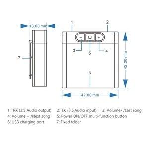 Image 3 - DISOUR TX8 5,0 Bluetooth Empfänger Sender Mit Volumen Control Taste 2 in 1 Audio Wireless Adapter 3,5 MM AUX Für auto TV PC
