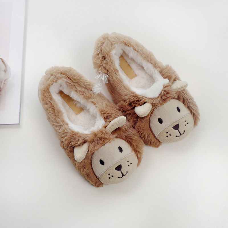 Toddler Kids Winter Fuzzy Home Slippers Cartoon Lion Animal Embroidery Booties