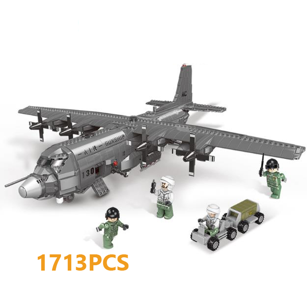 Moderno militar eua ac130 ar gunship fighter batisbricks bloco de construção ww2 exército forças aéreas figuras avião tijolos brinquedos
