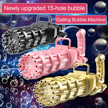 15 Holes Large Kids Gatling Bubble Gun Toys Summer Automatic Soap Water Bubble Machine For Children Toddlers Indoor Outdoor