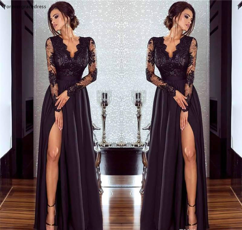 2019 Black   Evening     Dress   New Deep V Neck Side Split Long Sleeve Formal Holidays Wear Graduation Party Gown Custom Made