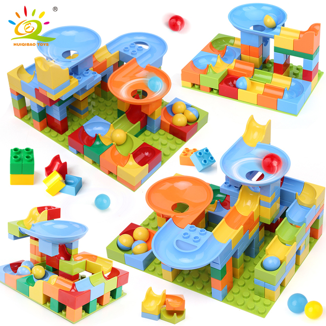 HUIQIBAO 134PCS Ball Run Race Track large Building Blocks Duploed size Big Bricks Set with baseplate Children kids Assemble Toy
